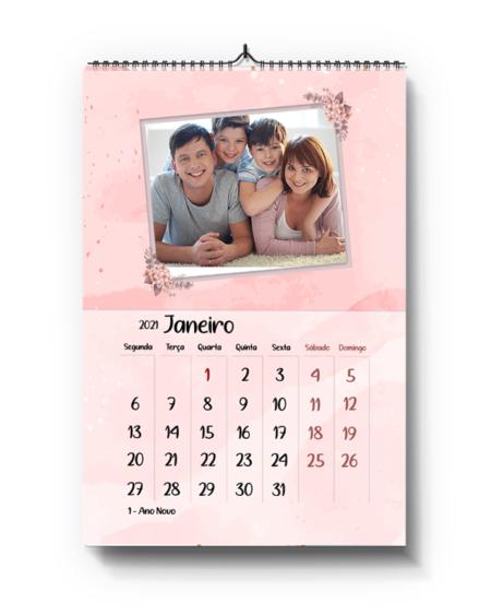 Calendário A4 -Tema Aguarela Rosa